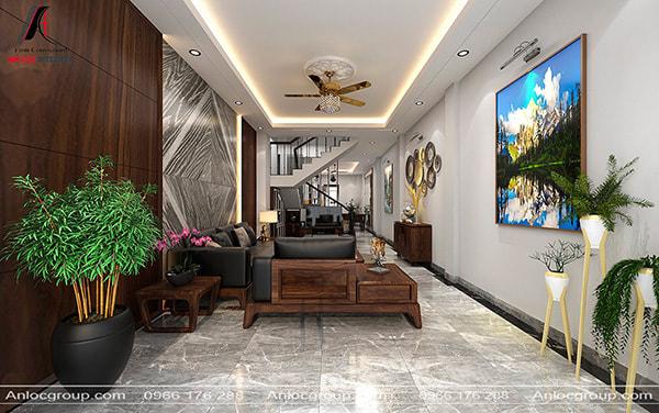 Mẫu 10 - Thiết kế phòng khách nhà ống có cầu thang ngăn cách với phòng bếp