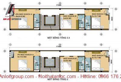 Thiết kế nhà nghỉ 5 tầng với cách sắp đặt tinh tế, mới lạ
