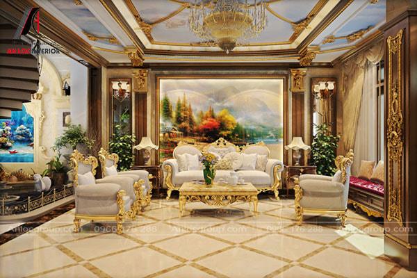 Mẫu 21 - Nội thất phòng khách mạ vàng có tính thẩm mỹ cao