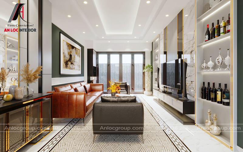 Khuôn viên phòng khách của nhà phố tại Hải Phòng đơn giản, sang trọng