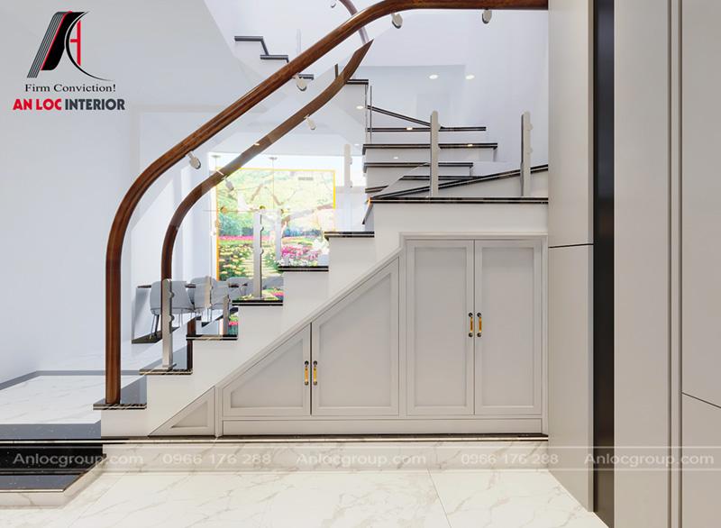 Góc cầu thang trống được bố trí tủ gầm hiện đại, tinh tế