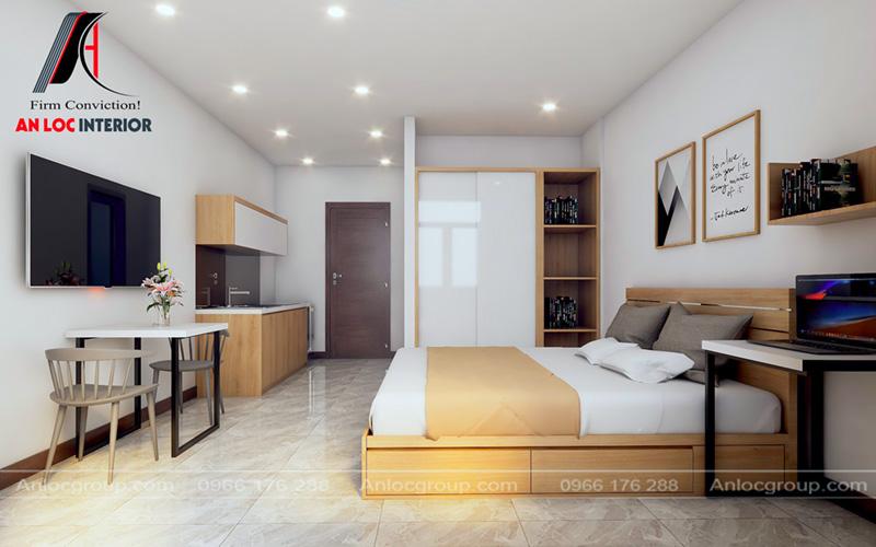 Góc chụp tổng thể thiết kế căn hộ mini cho thuê