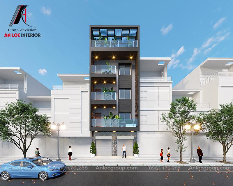 thiết kế nhà phố 4 tầng tại Quốc Oai, Hà Nội