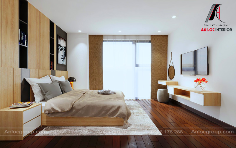 Thiết kế nội thất chung cư 80m2 tại MHDI có phòng ngủ rộng rãi, thoáng mát