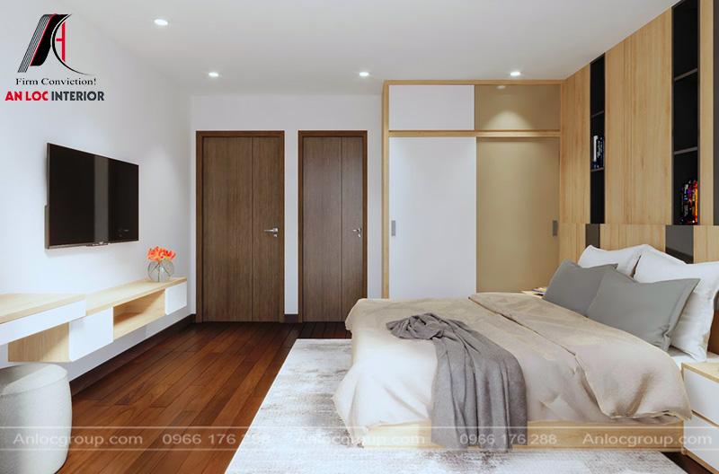 Sàn gỗ, tủ đựng quần áo trang nhã, lịch sự