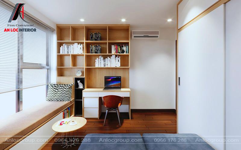 Phòng làm việc chung cư 80m2 ngăn nắp, gọn gàng
