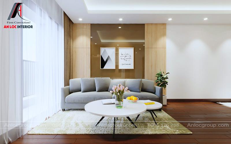 Sofa, bàn trà đơn giản nhằm gia tăng diện tích sử dụng