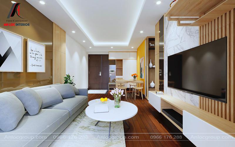 Góc chụp tổng thể phòng khách của thiết kế nội thất chung cư MHDI