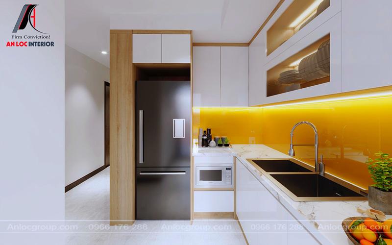 Thiết kế nội thất phòng bếp chung cư MHDI theo mô hình chữ L