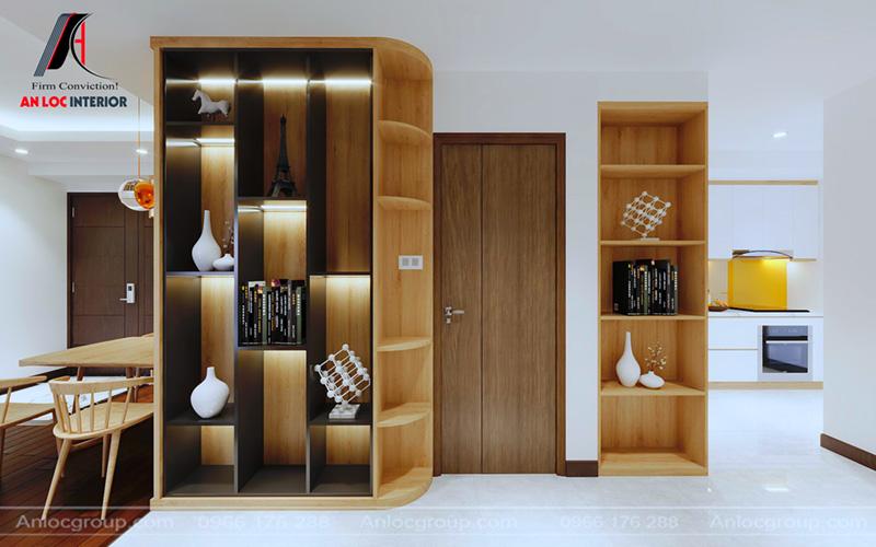 Tủ trang trí bắt mắt, phân chia thành từng ngăn đựng đồ
