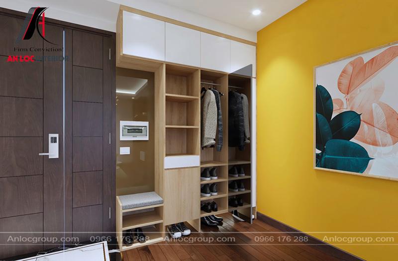 Tủ quần áo được đặt ngang so với cửa ra vào