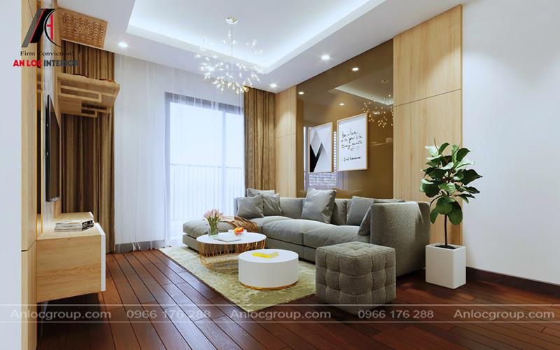 Đèn chùm trong căn hộ chung cư 80m2 đơn giản, sang trọng