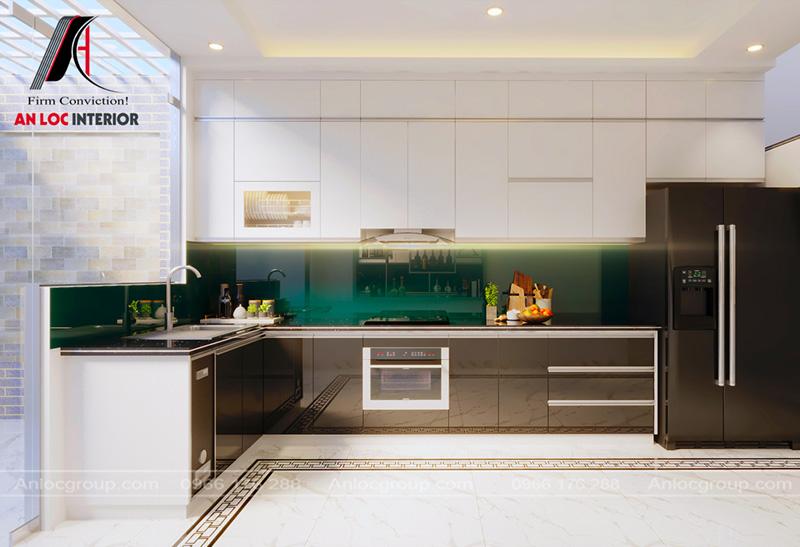 Nội thất khu vực bếp đơn giản, tiện nghi