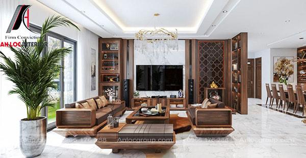 Mẫu 15 - Thiết kế phòng khách đẹp với bề mặt gỗ cao cấp