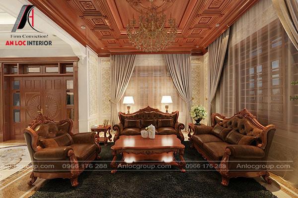Mẫu 24 - Phòng khách Indochine với nội thất gỗ tự nhiên