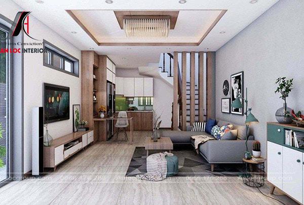 Mẫu 3 - Thiết kế nội thất phòng khách nhà ống 5m