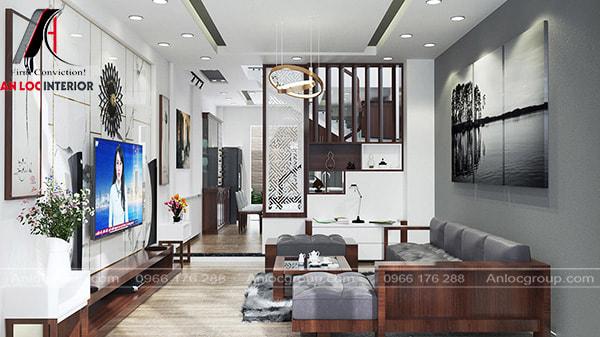 Mẫu 9 - Phòng khách nhà ống với tone màu nhẹ nhàng