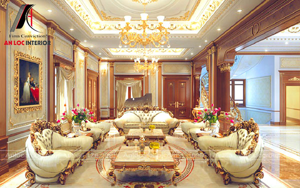 Mẫu 22 - Thiết kế phòng khách đẹp theo phong cách cổ điển