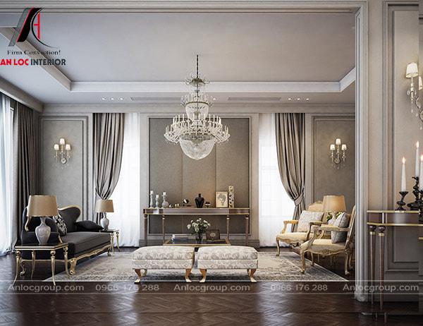 Mẫu 28 - Trang trí phòng khách tân cổ điển bằng các chi tiết tinh tế, uyển chuyển