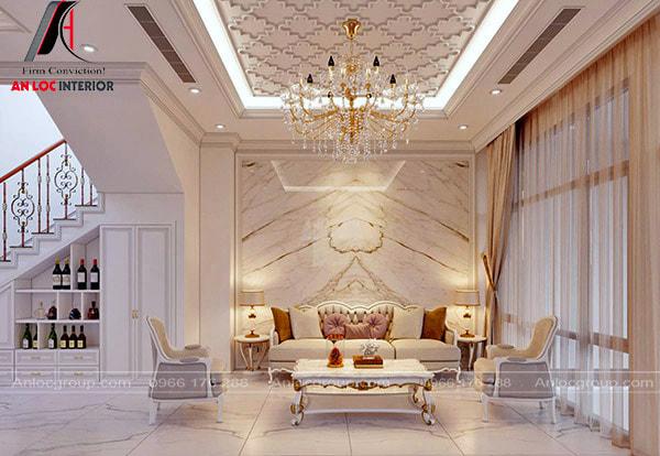 Mẫu 25 - Thiết kế phòng khách đẹp, đơn giản theo phong cách tân cổ điển