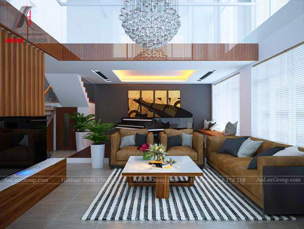 Mẫu 13 - Phòng khách hiện đại có thiết kế thông tầng