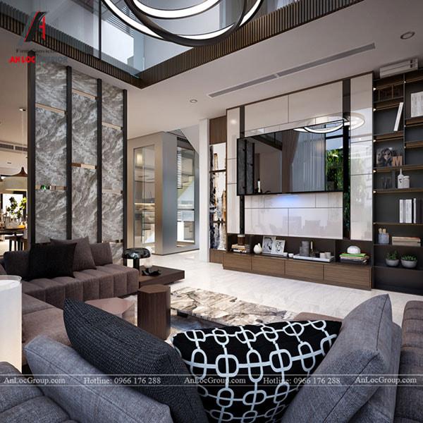 Mẫu 14 - Phòng khách biệt thự sang trọng với tường ốp đá, gỗ và nội thất cao cấp