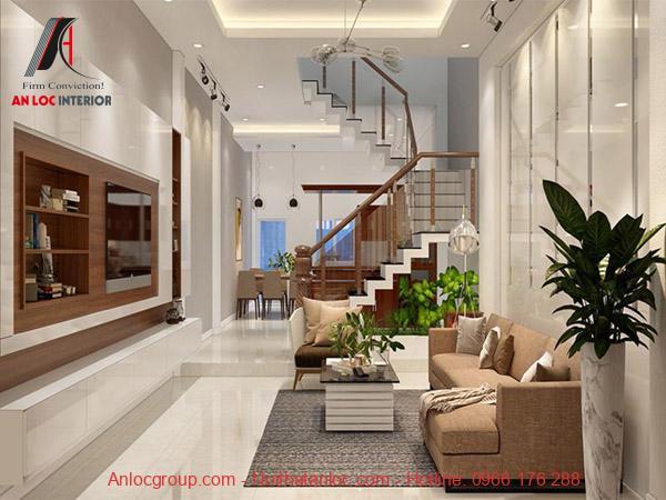 Mẫu 1 - Phòng khách nhà ống 4m đẹp hơn với cây cảnh