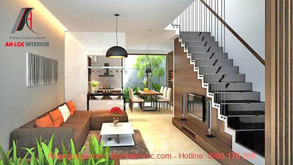 Mẫu 2 - Thiết kế phòng khách nhà phố có cầu thang 1 vế
