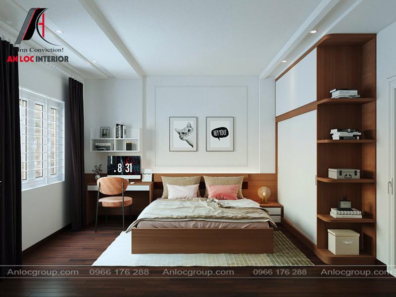 Nội thất phòng ngủ con đơn giản, tích hợp công năng