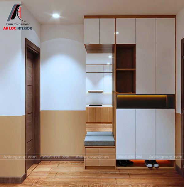 Tủ giày trong nhà chung cư đẹp 60m2 được bố trí tiện nghi