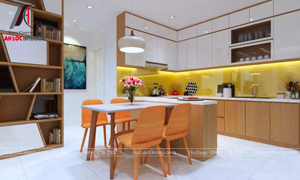 Cánh tủ bếp sử dụng gỗ công nghiệp phủ Acrylic sáng bóng