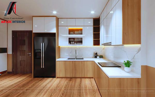 Tủ bếp chữ L hiện đại với bề mặt bếp sử dụng đá Marble