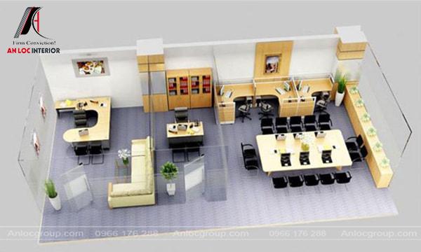 Mẫu 10 - Thiết kế nội thất văn phòng nhỏ theo chiều ngang
