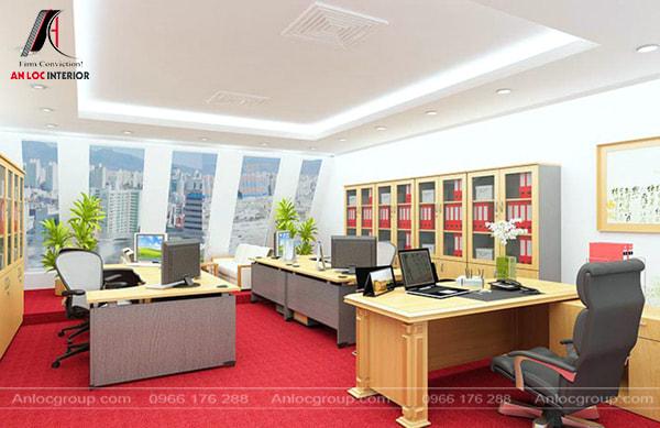Mẫu 11 - Thiết kế văn phòng nhỏ đơn giản tone màu trung tính