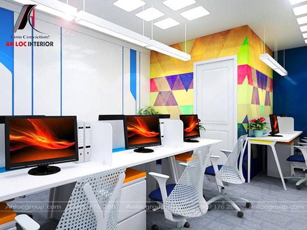 Mẫu 15 - Thiết kế văn phòng làm việc nhỏ đẹp sử dụng màu sắc rực rỡ