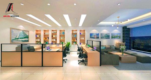 Mẫu 18 - Bộ bàn ghế tiếp khách văn phòng nhỏ được ngăn cách với khu vực làm việc bằng vách ngăn