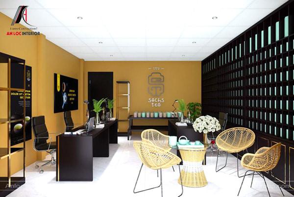 Mẫu 22 - Văn phòng công ty nhỏ với tone màu đen vàng cá tính