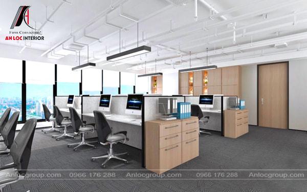 Mẫu 25 - Văn phòng nhỏ thông thoáng với cửa sổ rộng