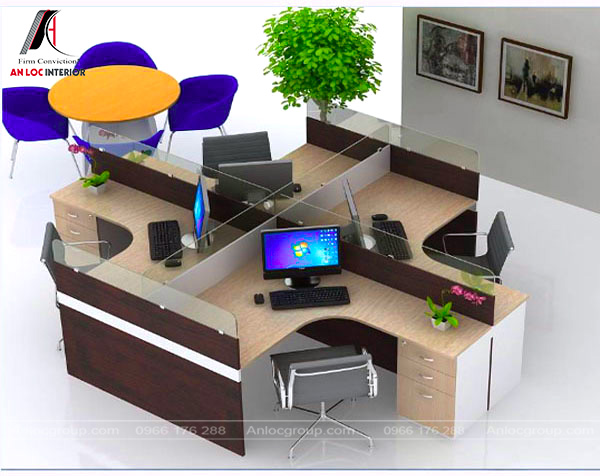 """Mẫu 26 - Bố trí văn phòng làm việc nhỏ theo hình """"chữ Thập"""""""