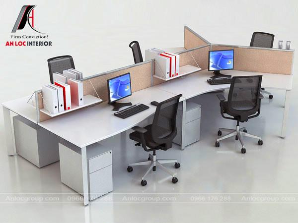 Mẫu 28 - Văn phòng làm việc nhỏ cho nhân viên, mỗi chỗ ngồi đều có tủ nhỏ, giá để tài liệu