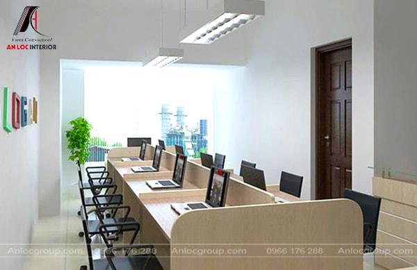 Mẫu 3 - Bố trí văn phòng làm việc nhỏ ngồi đối diện nhau