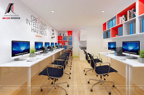 Mẫu 35 - Văn phòng nhỏ đơn giản với bàn đặt sát tường, nhân viên ngồi quay lưng vào nhau