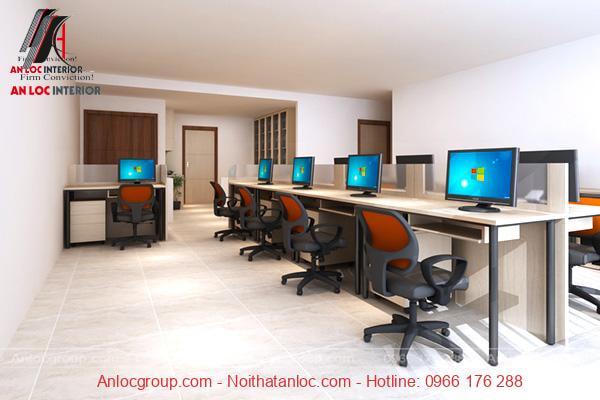 Mẫu 5 - Văn phòng nhỏ đẹp với bàn ghế hiện đại, tạo sự thoải mái cho nhân viên