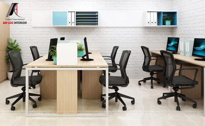 Mẫu 6 - Thiết kế văn phòng nhỏ đẹp với xốp dán tường giả gạch