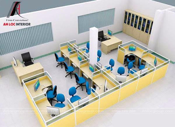 Mẫu 7 - Văn phòng nhỏ đẹp theo hình chữ M, góc phòng có tủ tài liệu âm tường
