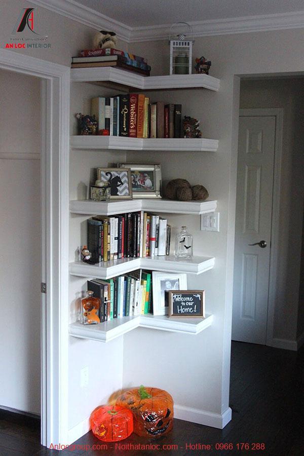 Tủ sách góc tường thông minh