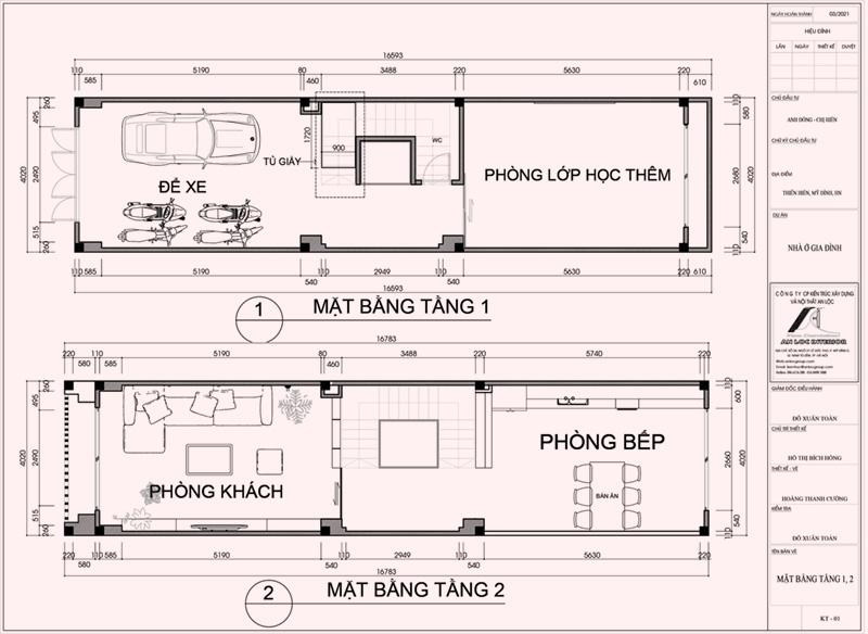 Mặt bằng thiết kế nội thất nhà phố Thiên Hiền tầng 1-2