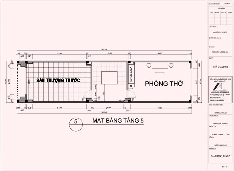 Mặt bằng thiết kế nội thất nhà phố Thiên Hiền tầng 5