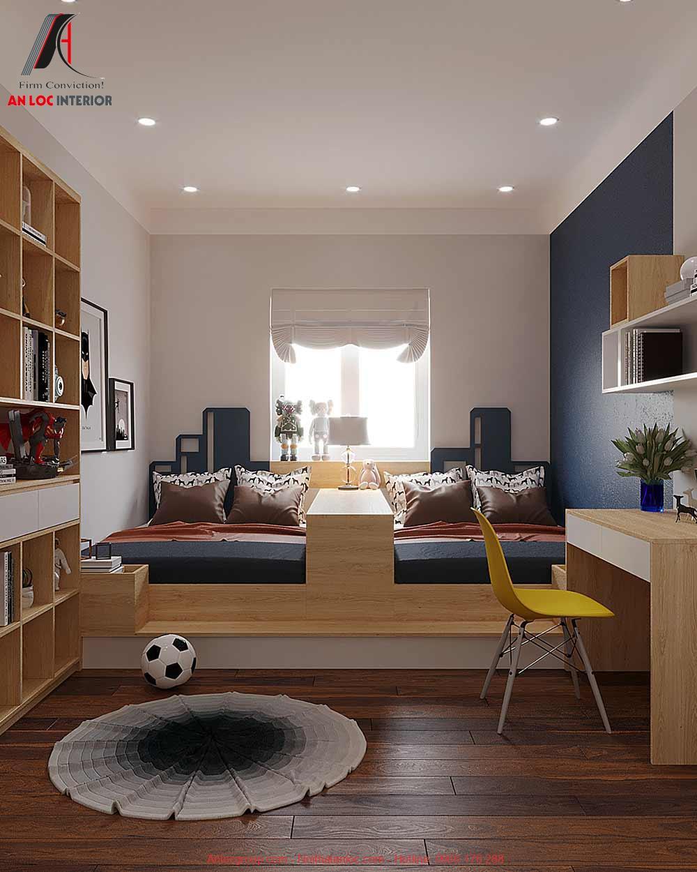 Mẫu 18: Thiết kế nội thất phòng ngủ 2 giường cho bé trai (Ảnh 1)