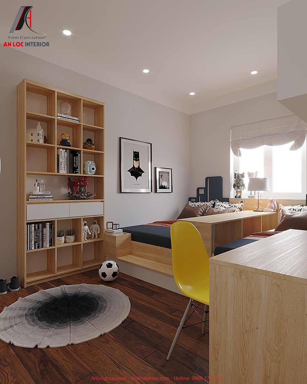 Mẫu 18: Thiết kế nội thất phòng ngủ 2 giường cho bé trai (Ảnh 2)